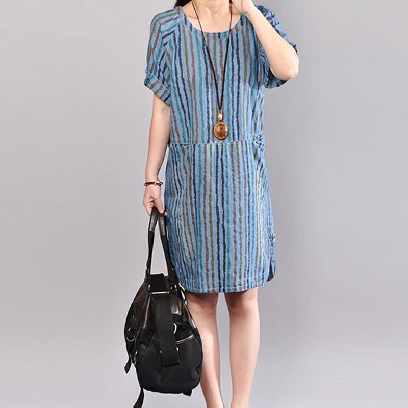 Fine cotton summer dress plus size Casual Stripe Summer Short Sleeve Blue Dress