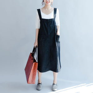 Fine denim black long cotton dresses casual sleeveless cotton maxi dress Fine big pockets cotton clothing dresses