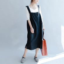 Load image into Gallery viewer, Fine denim black long cotton dresses casual sleeveless cotton maxi dress Fine big pockets cotton clothing dresses