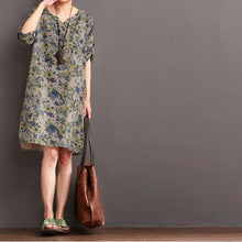 Load image into Gallery viewer, Fine floral cotton dress summer long sundress half sleeve