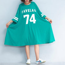 Load image into Gallery viewer, Fine green cotton shift dress plussize cotton dress vintage bracelet sleeved alphabet prints cotton clothing dress