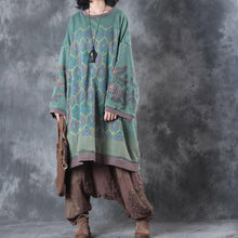 Load image into Gallery viewer, Fine green print Midi-length cotton dress plus size clothing dresses boutique low high design o neck  natural dress