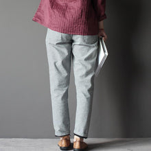 Load image into Gallery viewer, Fine grid cotton women pants Capris trousers
