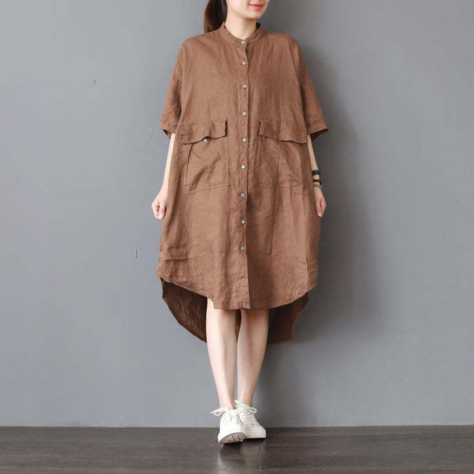 Fine khaki pure linen dress plus size shirt dress boutique low high design big pockets linen clothing dress