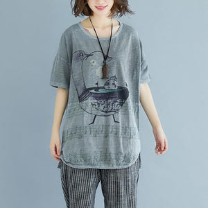 Fine linen tops Loose fitting Embroidery Summer Short Sleeve Slit Gray Blouse