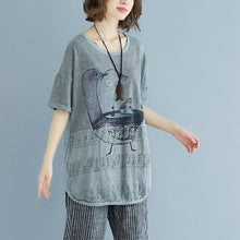 Load image into Gallery viewer, Fine linen tops Loose fitting Embroidery Summer Short Sleeve Slit Gray Blouse