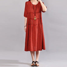 Load image into Gallery viewer, Fine long cotton dress oversize Casual Summer Women Red Lattice Short Sleeve Dress