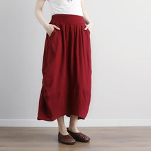 Load image into Gallery viewer, Fine natural linen skirts plus size Women  Casual Summer Pockets Red Long Skirts