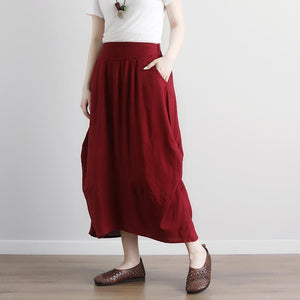 Fine natural linen skirts plus size Women  Casual Summer Pockets Red Long Skirts