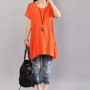 Fine pure cotton blouse plus size Casual Women Pure Color Round Neck T-shirt