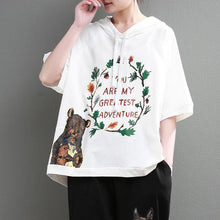 Load image into Gallery viewer, Fine pure cotton tops Loose fitting Loose Cartoon Letter Printed Hoodie Women White Tops