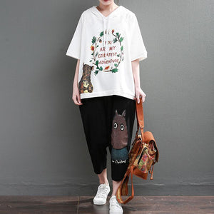 Fine pure cotton tops Loose fitting Loose Cartoon Letter Printed Hoodie Women White Tops