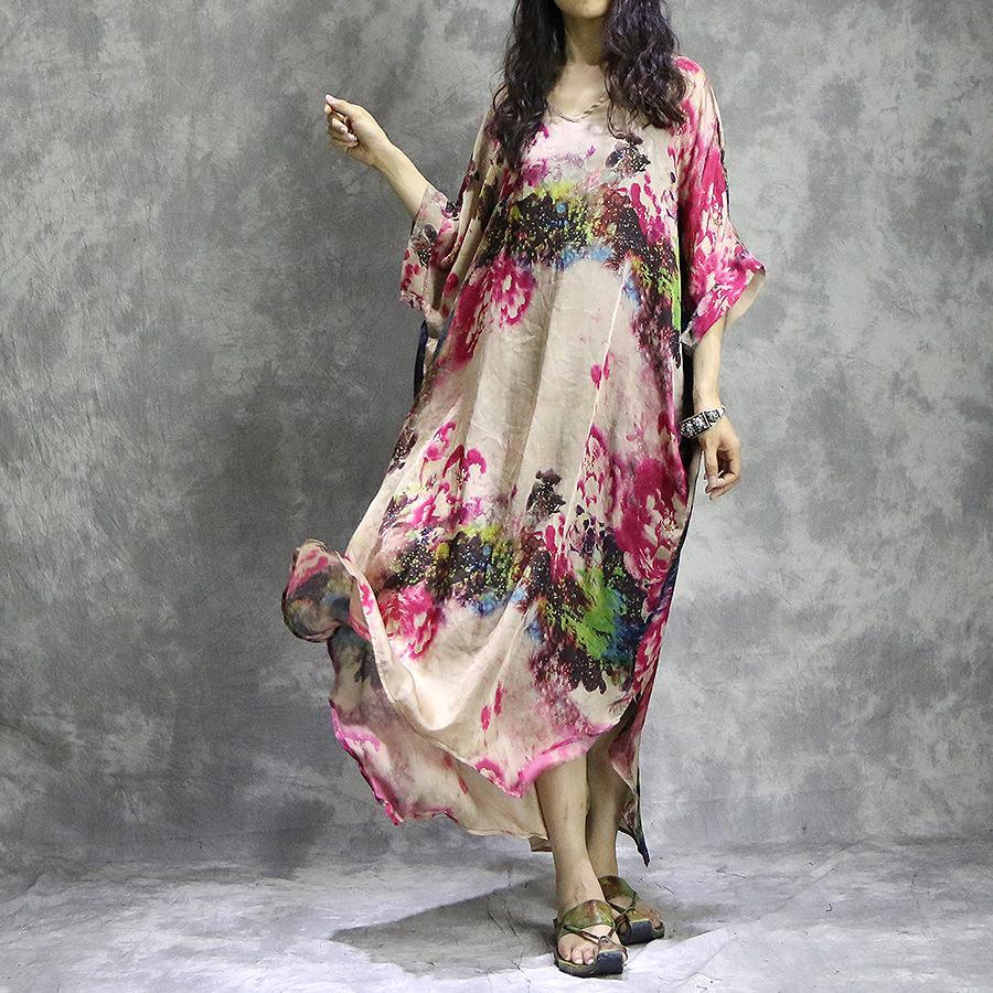Fine red floral  natural silk chiffon dress  plus size clothing side open clothing dress Fine batwing sleeve maxi dresses