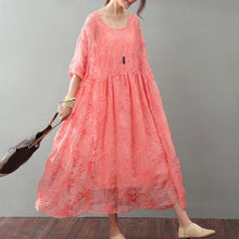 Load image into Gallery viewer, Fine red natural silk dress  Loose fitting lace caftans Elegant bracelet sleeved gown