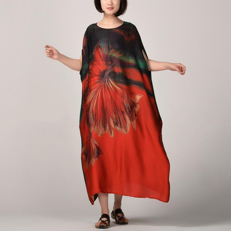 Fine red patchwork long silk dress oversized patchwork silk clothing dress 2018 batwing sleeve caftans