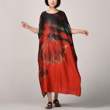 Load image into Gallery viewer, Fine red patchwork long silk dress oversized patchwork silk clothing dress 2018 batwing sleeve caftans