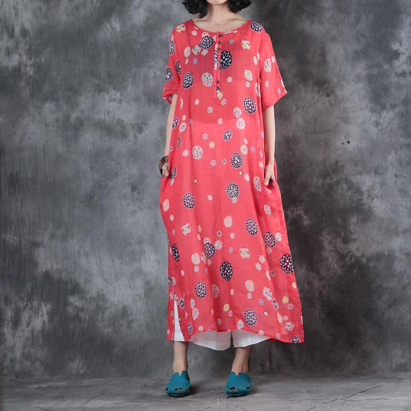 Fine red prints linen dress plussize short sleeve traveling clothing boutique side open caftans