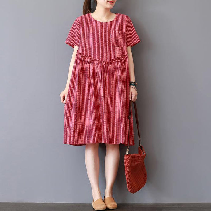 Fine red striped Midi-length linen dress casual shirt dress2018o neck patchwork ruffles linen dress