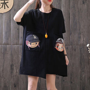 Fine summer t shirt plus size Irregular Round Neck Short Sleeve Casual Black Tops