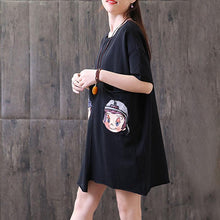 Load image into Gallery viewer, Fine summer t shirt plus size Irregular Round Neck Short Sleeve Casual Black Tops