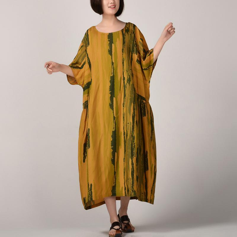 Fine yellow silk linen caftans trendy plus size striped prints traveling clothing New batwing sleeve kaftans