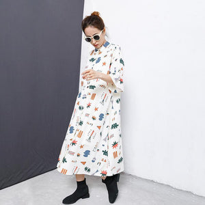 Flare Sleeve Printed Casual Loose Shirt Dress