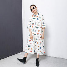 Load image into Gallery viewer, Flare Sleeve Printed Casual Loose Shirt Dress