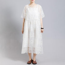 Load image into Gallery viewer, Floral Embroidery Transparent Dress With Lining