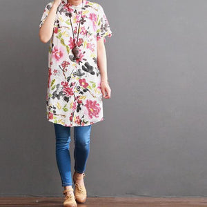 Floral casual dress cotton sundress linen shirt summer