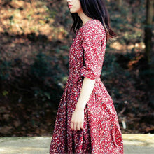 Load image into Gallery viewer, Floral cotton linen dress medium length plus size long sleeve dress
