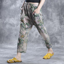 Load image into Gallery viewer, Floral linen pants casual pants  fall