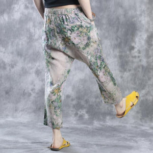 Floral linen pants casual pants  fall