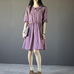 Floral summer cotton dressess half sleeve sundress fit flare dresses