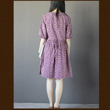 Load image into Gallery viewer, Floral summer cotton dressess half sleeve sundress fit flare dresses