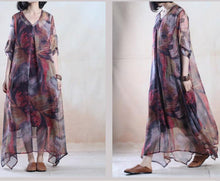 Load image into Gallery viewer, Floral summer maxi dress long chiffon dress plus size holiday party sundresses two pieces