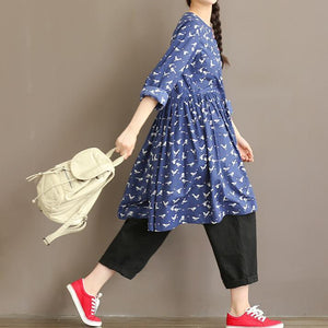 Flying birds in the sky cotton dress oversize traveling dress spring fit flare dresses blue