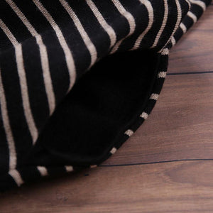 For Spring Sweater Wardrobes Vintage high neck pockets black striped DIY knitwear