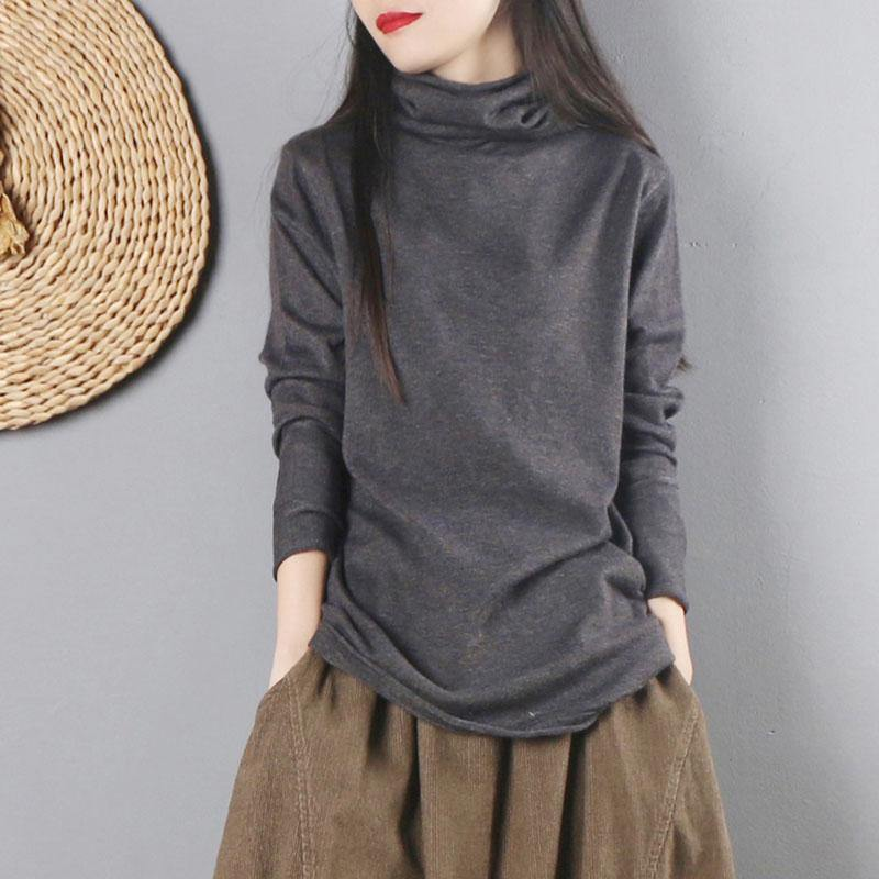 For Spring dark gray sweater tops high neck knitwear long sleeve