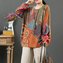 Load image into Gallery viewer, For Spring print one clothes wild casual o neck knitted blouse