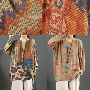 For Spring print one clothes wild casual o neck knitted blouse