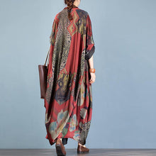 Load image into Gallery viewer, For Spring red print casual stand collar Batwing Sleeve cardigan