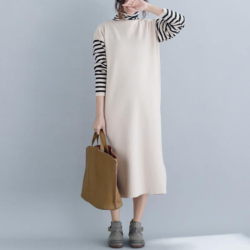 For Spring sweater weather fashion nude oversized knitted dresses