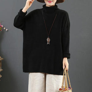 For Work black knit top silhouette winter trendy plus size high neck knitted blouse