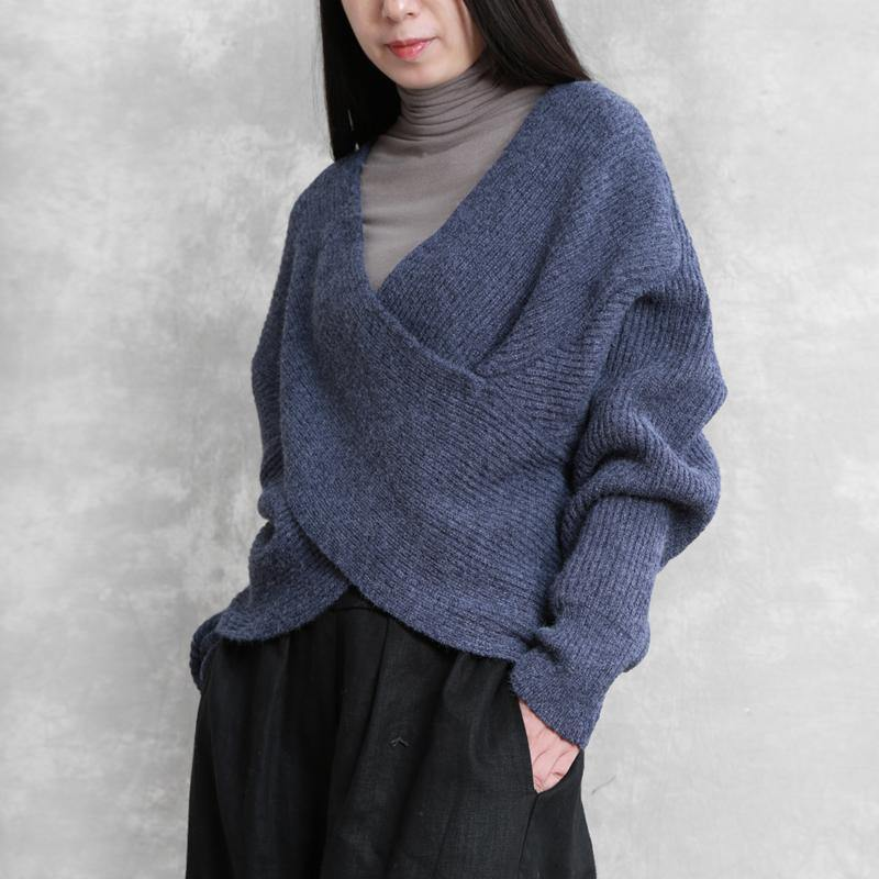 For Work blue knit sweat tops plus size v neck Batwing Sleeve knitted clothes