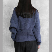 Load image into Gallery viewer, For Work blue knit sweat tops plus size v neck Batwing Sleeve knitted clothes