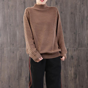 For Work brown Blouse plus size high neck knit tops long sleeve
