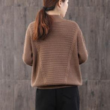 Load image into Gallery viewer, For Work brown Blouse plus size high neck knit tops long sleeve