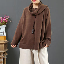 Load image into Gallery viewer, For Work brown clothes With scarf fall fashion thick sweaters