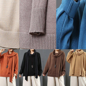 For Work brown clothes With scarf fall fashion thick sweaters