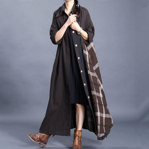 For Work chocolate plaid oversized spring lapel patchwork cardigan